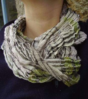 crinkle scarf made during hurricane xynthia in spain