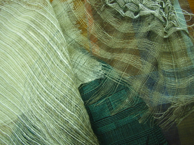 fabric sample woven by Anna Champeney during collapse weave course with Lotte Dalgaard in Galicia Spain September 2010