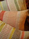 """Spots and Squares"" cushions from wool and natural linen"