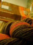 Winding the warp onto the Louet loom using the raddle