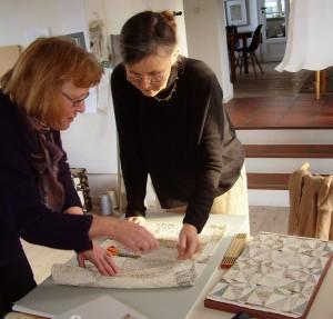 Charlotte Shroeder shows her latest tapestry sample