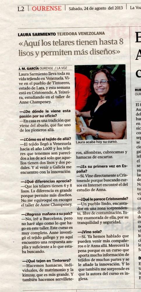 La Voz de Galicia Ag 2013 Laura Sarmiento Venezuela 1000pix