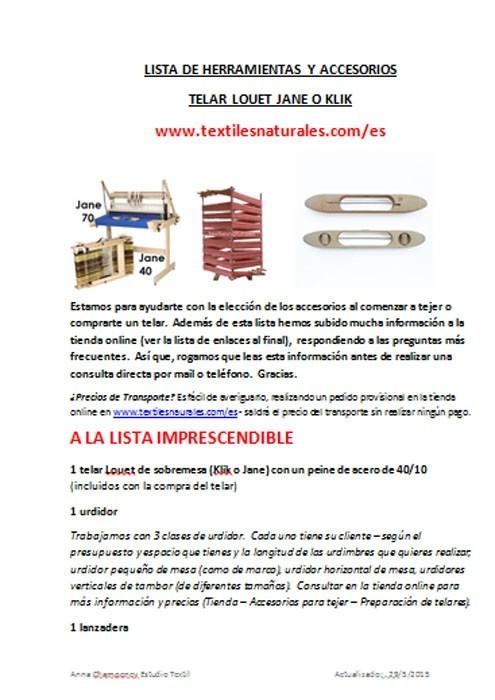 Lista de herramientas para tejer en telar