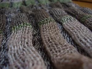 fular tubular de doble tela de lino y lana con tintes naturales