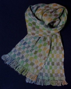 autumn colours and natural dyed linen scarf